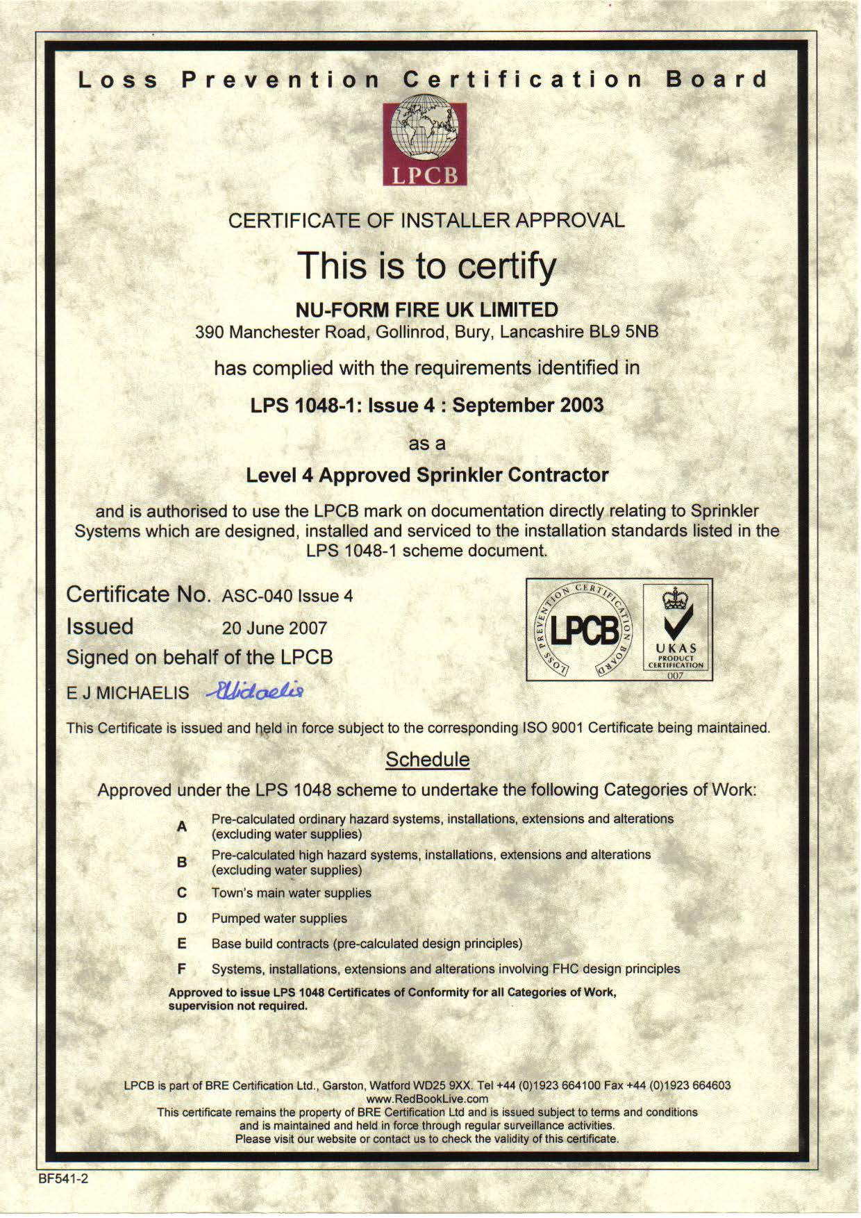LPS 1048 Level 4 Certificate larger image