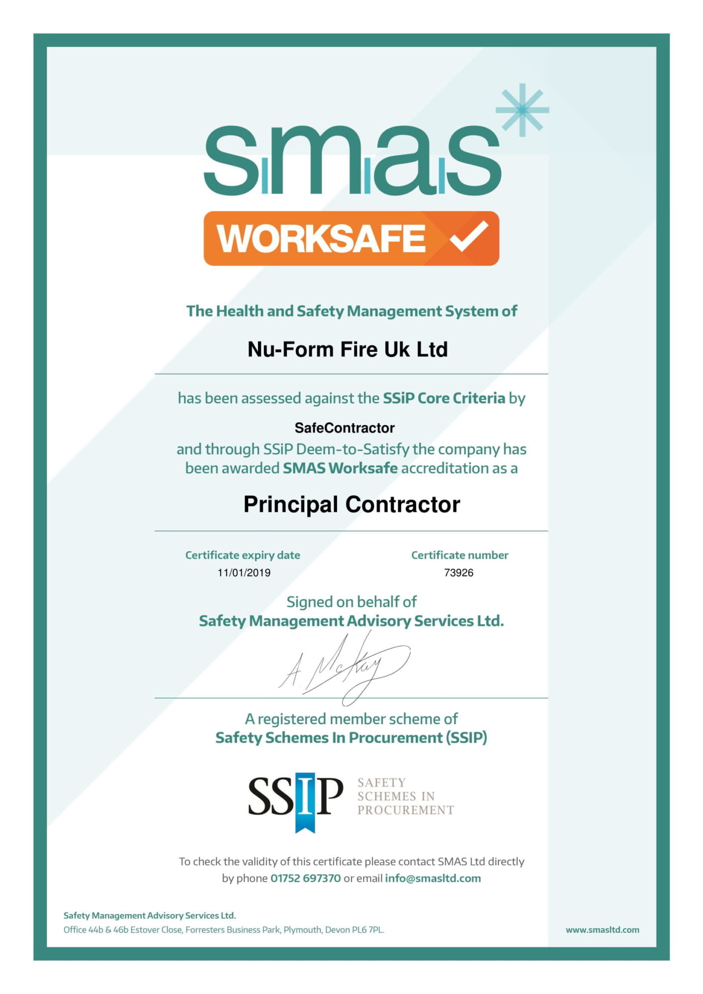 SMAS Principal Contractor larger image
